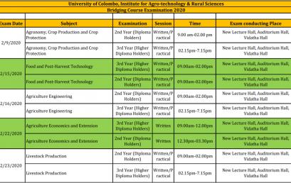 Bridging Course Examination Schedule 2020