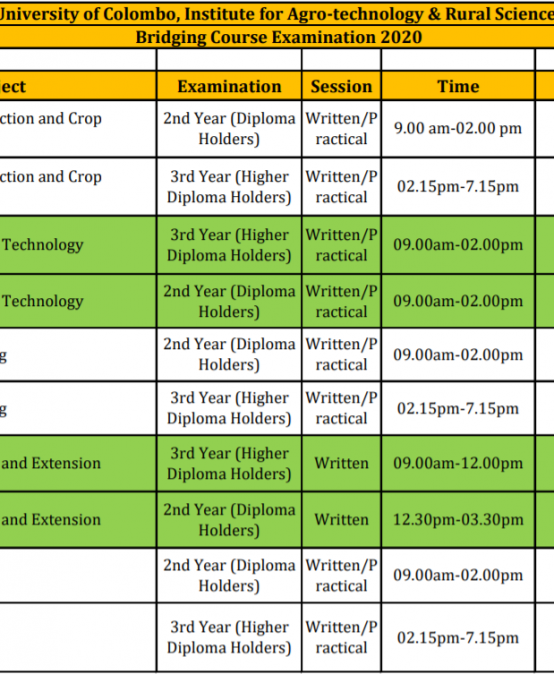 Bridging Course Examination Schedule 2020