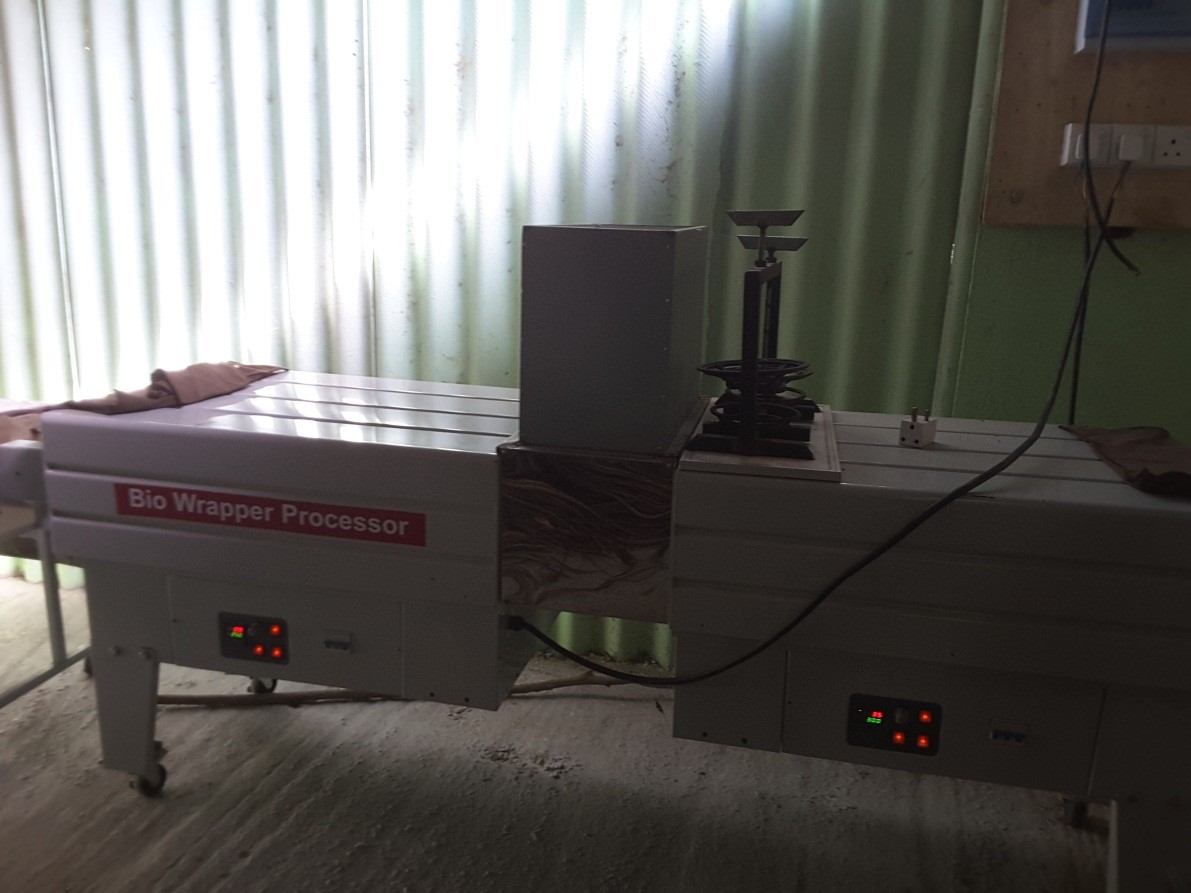 Production of a dual purpose machine for curing of bio wrappers and fabrication of bio plates with Banana leaves